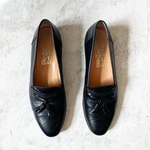 Salvatore Ferragamo Black Tassel Leather Loafers